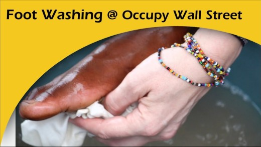 Foot Washing at Occupy Wall Street Anniversary